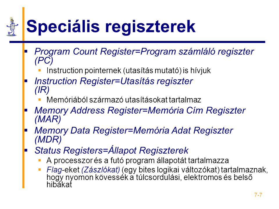 Speciális regiszterek