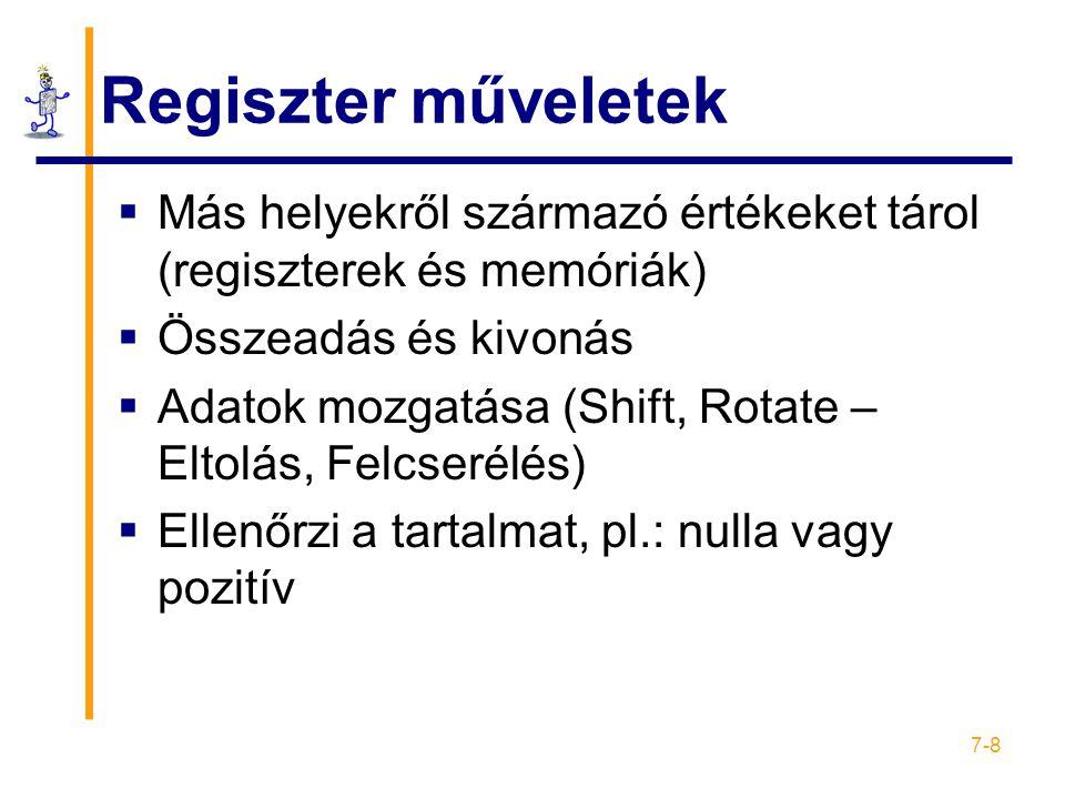 Regiszter műveletek Más helyekről származó értékeket tárol (regiszterek és memóriák) Összeadás és kivonás.