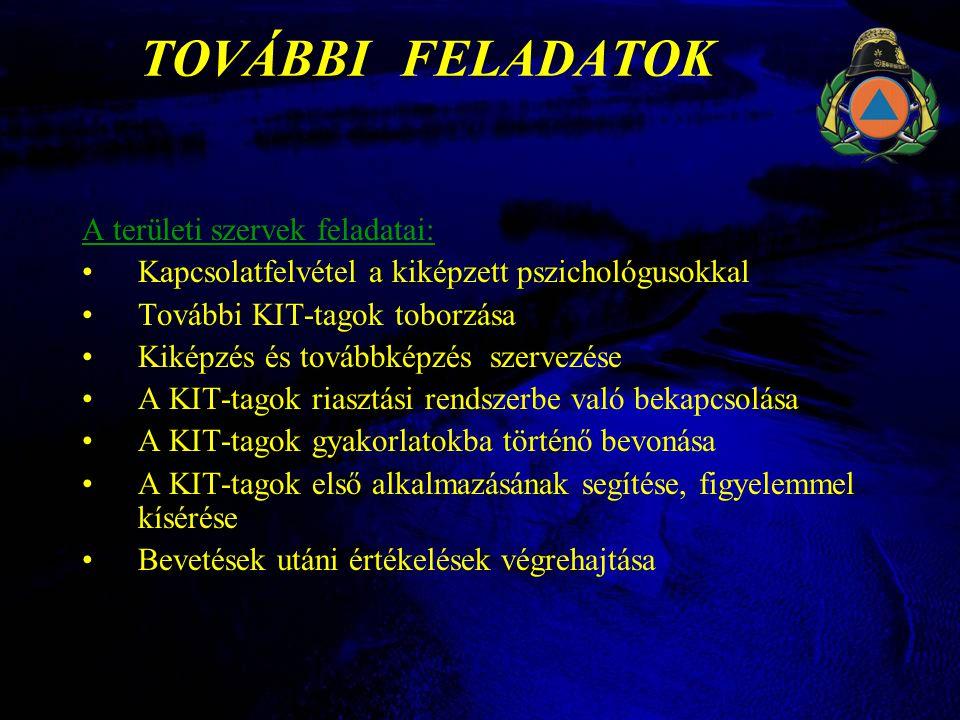TOVÁBBI FELADATOK A területi szervek feladatai: