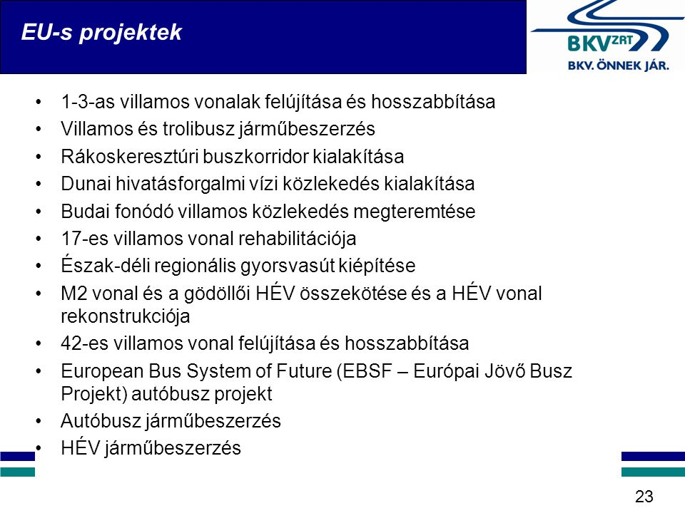 EU-s projektek 1-3-as villamos vonalak felújítása és hosszabbítása