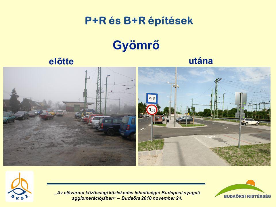 Gyömrő P+R és B+R építések előtte utána