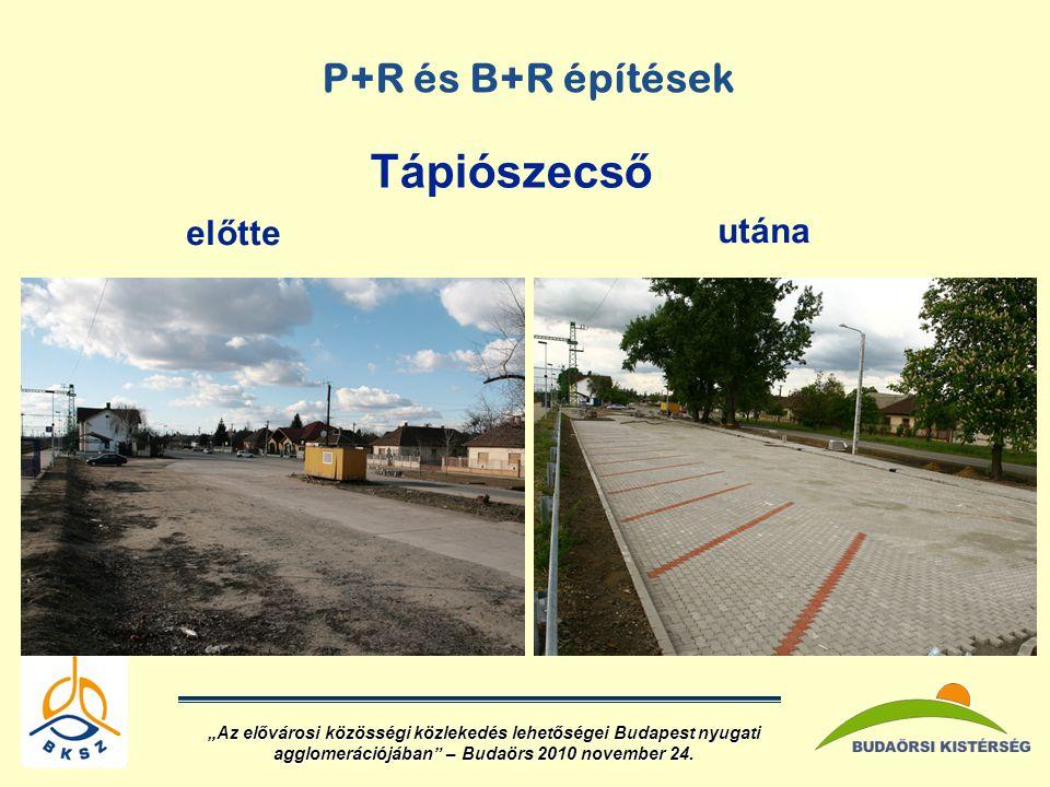 Tápiószecső P+R és B+R építések előtte utána