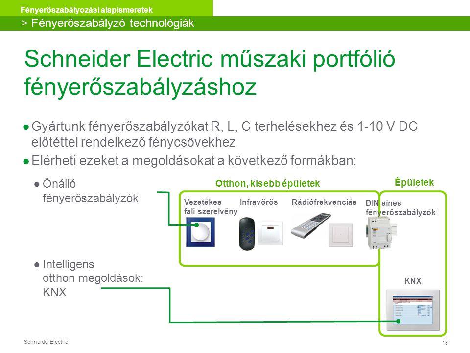 Schneider Electric műszaki portfólió fényerőszabályzáshoz