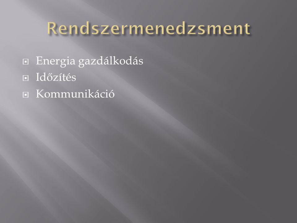 Rendszermenedzsment Energia gazdálkodás Időzítés Kommunikáció
