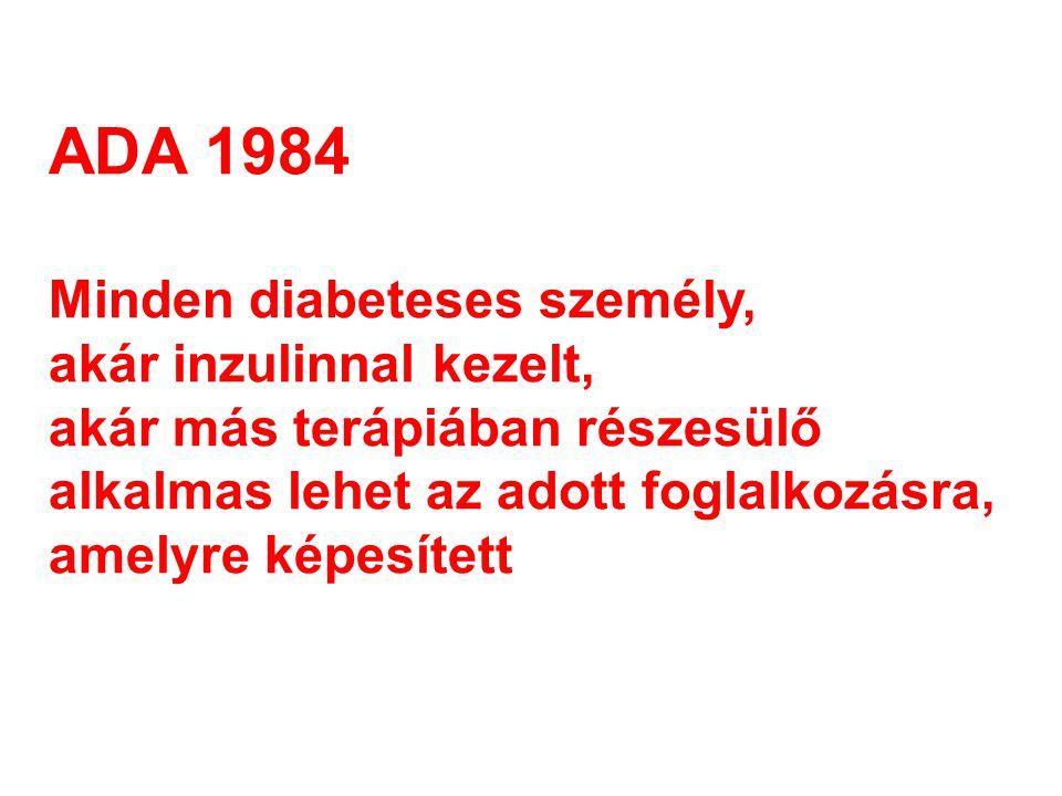 ADA 1984 Minden diabeteses személy, akár inzulinnal kezelt,
