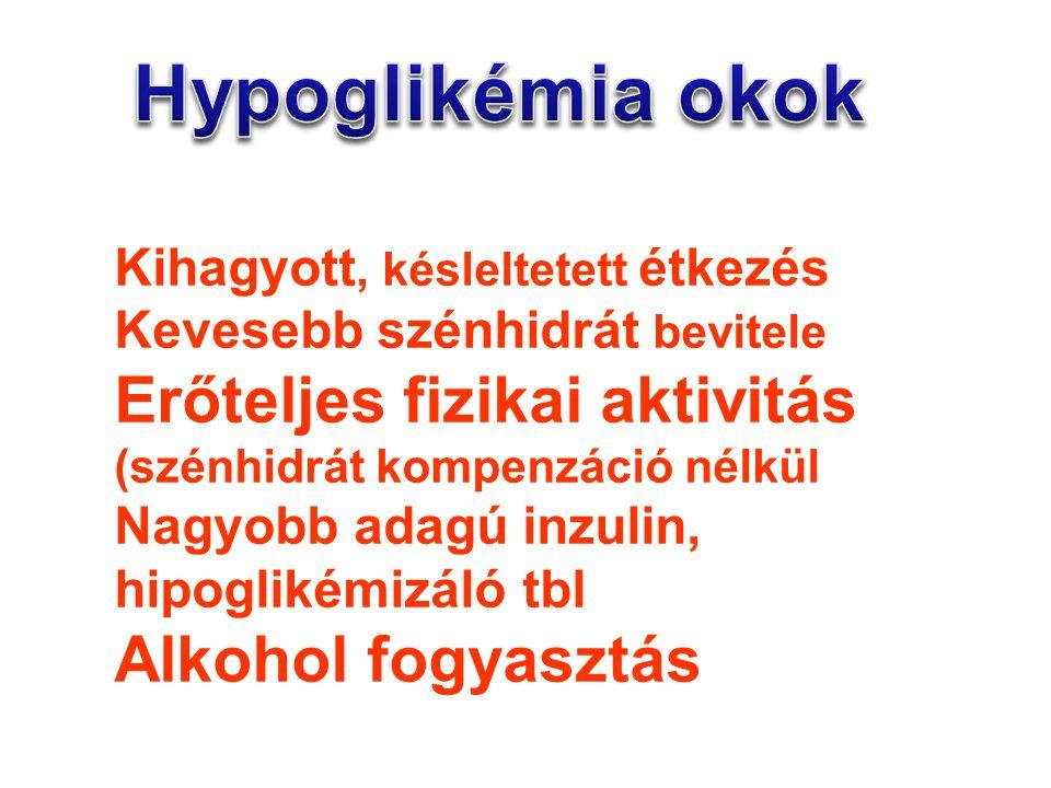 Hypoglikémia okok Erőteljes fizikai aktivitás Alkohol fogyasztás