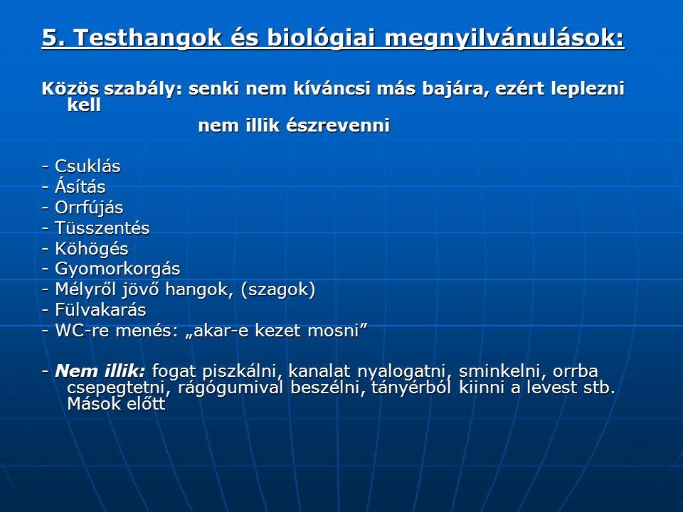 5. Testhangok és biológiai megnyilvánulások: