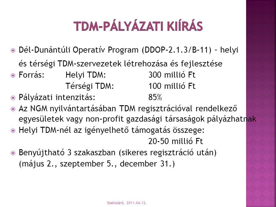 TDM-pályázati kiírás Dél-Dunántúli Operatív Program (DDOP-2.1.3/B-11) – helyi. és térségi TDM-szervezetek létrehozása és fejlesztése.