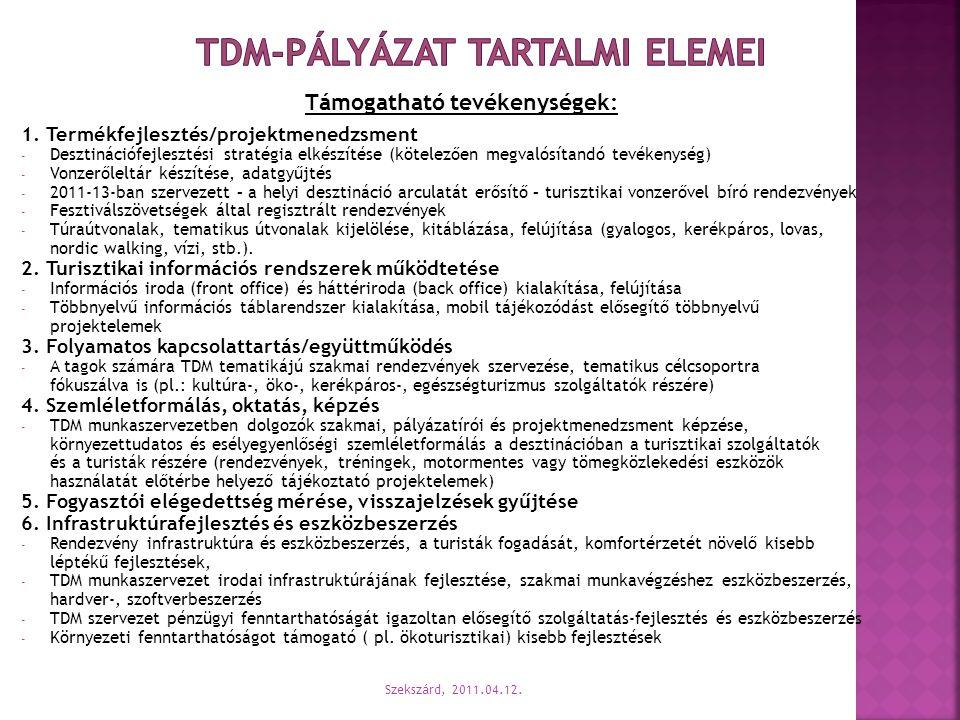 TDM-pályázat tartalmi elemei