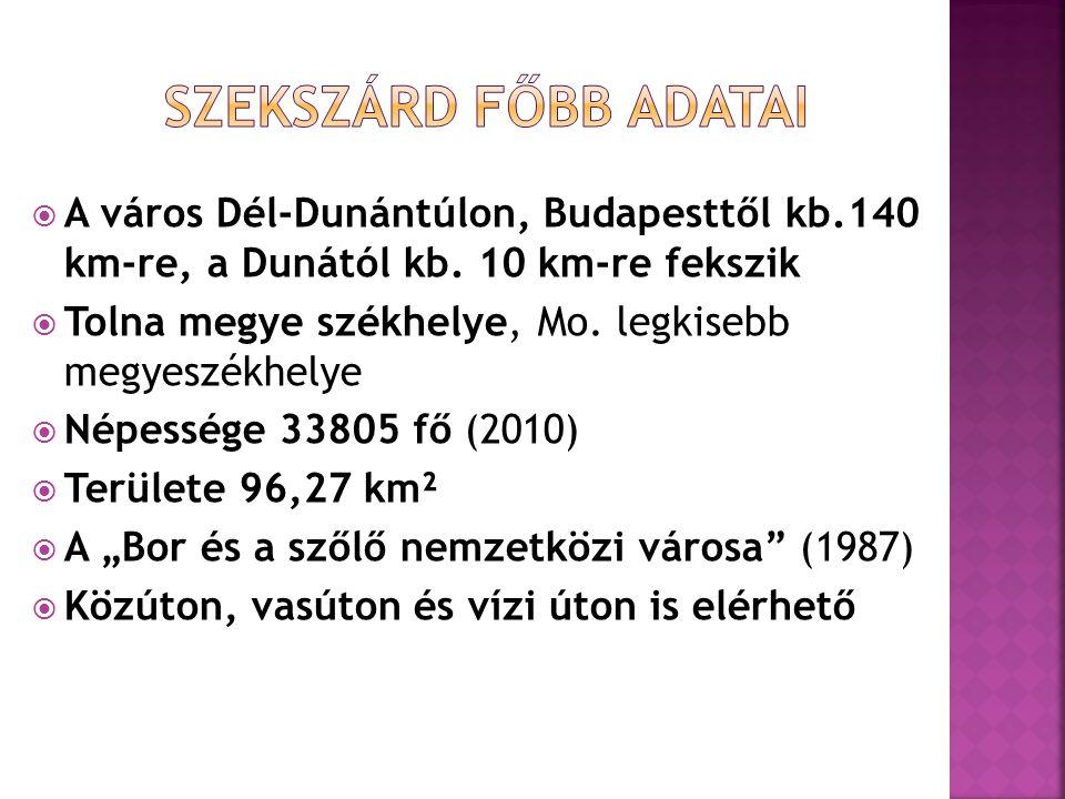 Szekszárd főbb adatai A város Dél-Dunántúlon, Budapesttől kb.140 km-re, a Dunától kb. 10 km-re fekszik.