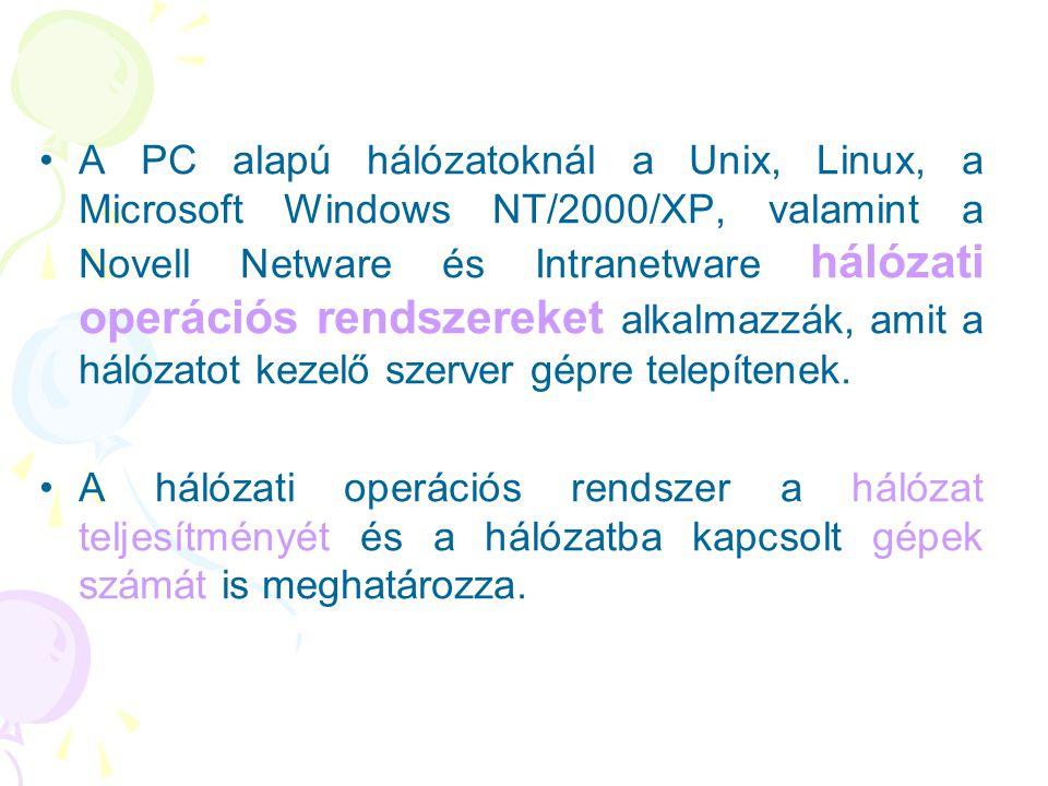 A PC alapú hálózatoknál a Unix, Linux, a Microsoft Windows NT/2000/XP, valamint a Novell Netware és Intranetware hálózati operációs rendszereket alkalmazzák, amit a hálózatot kezelő szerver gépre telepítenek.