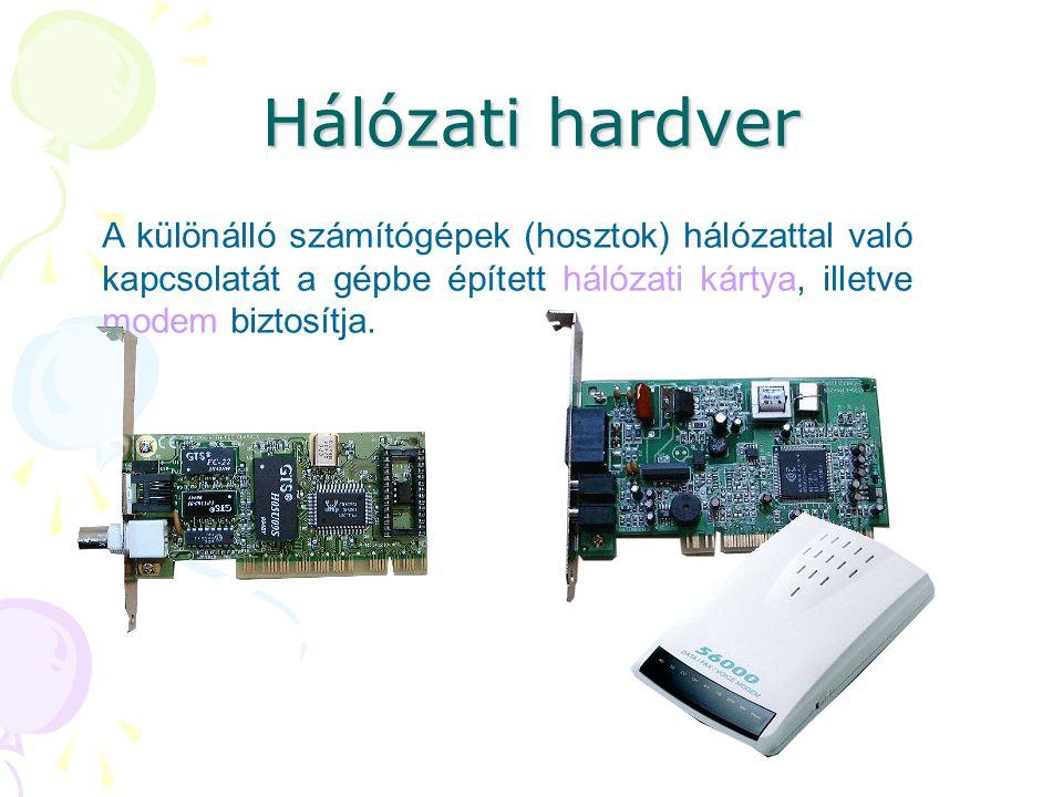 Hálózati hardver A különálló számítógépek (hosztok) hálózattal való kapcsolatát a gépbe épített hálózati kártya, illetve modem biztosítja.