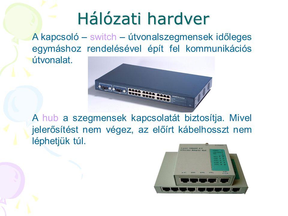 Hálózati hardver A kapcsoló – switch – útvonalszegmensek időleges egymáshoz rendelésével épít fel kommunikációs útvonalat.