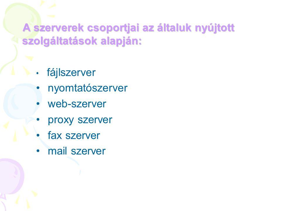 A szerverek csoportjai az általuk nyújtott szolgáltatások alapján: