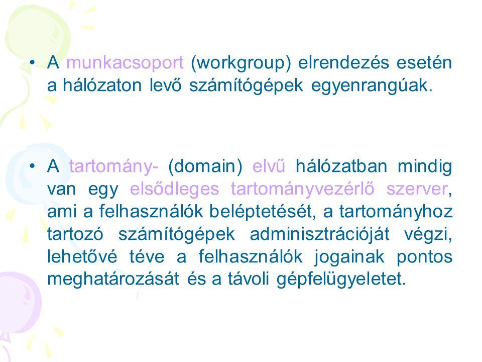 A munkacsoport (workgroup) elrendezés esetén a hálózaton levő számítógépek egyenrangúak.
