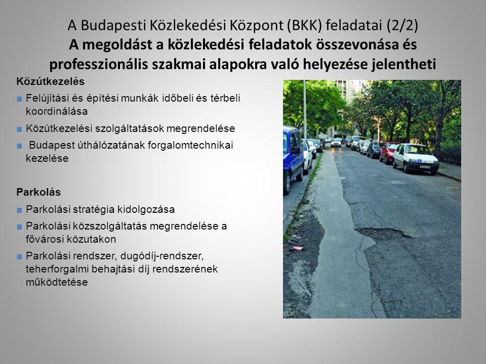 A Budapesti Közlekedési Központ (BKK) feladatai (2/2) A megoldást a közlekedési feladatok összevonása és professzionális szakmai alapokra való helyezése jelentheti