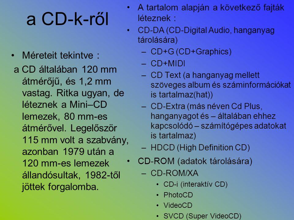 a CD-k-ről Méreteit tekintve :