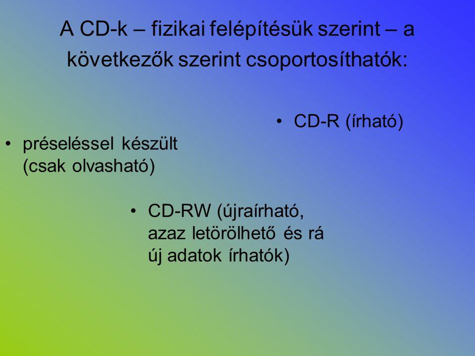 A CD-k – fizikai felépítésük szerint – a következők szerint csoportosíthatók: