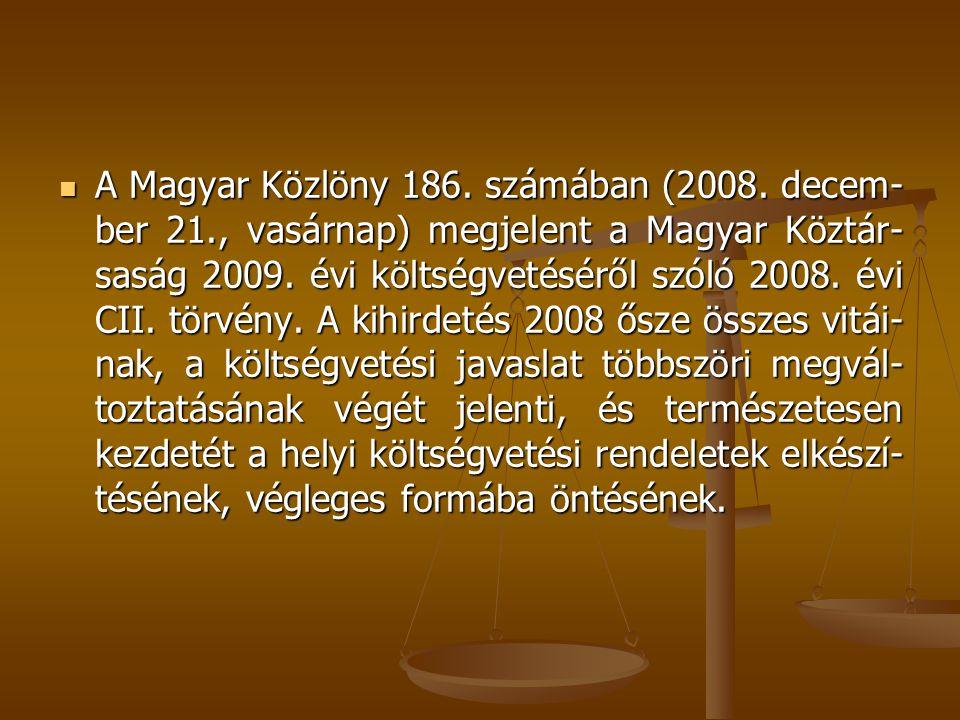A Magyar Közlöny 186. számában (2008. decem-ber 21