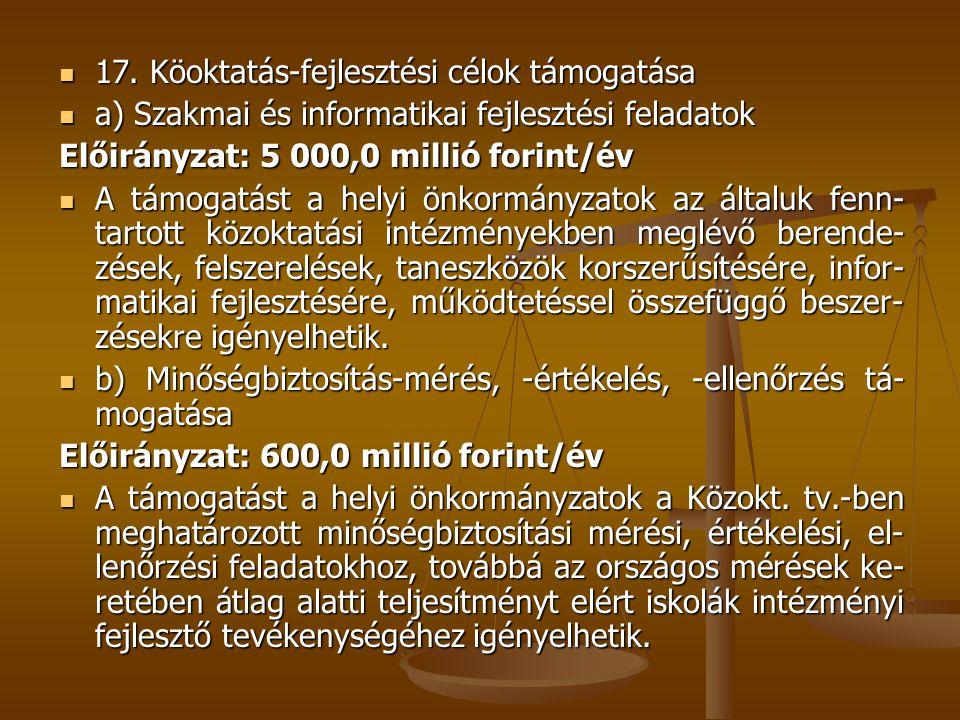 17. Köoktatás-fejlesztési célok támogatása