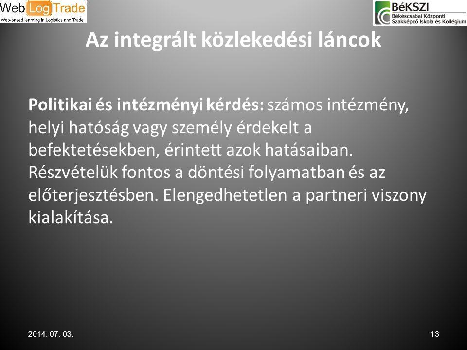 Az integrált közlekedési láncok