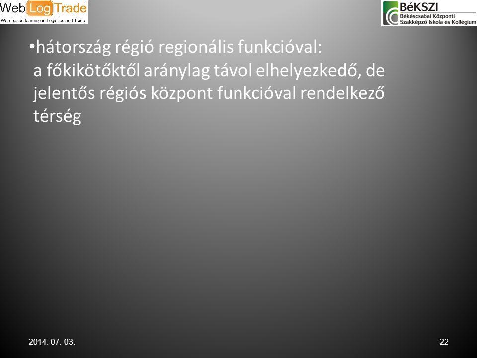 hátország régió regionális funkcióval: