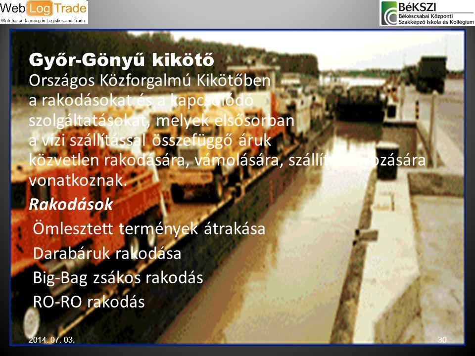 Győr-Gönyű kikötő Országos Közforgalmú Kikötőben a rakodásokat és a kapcsolódó szolgáltatásokat, melyek elsősorban a vízi szállítással összefüggő áruk közvetlen rakodására, vámolására, szállítmányozására vonatkoznak. Rakodások Ömlesztett termények átrakása Darabáruk rakodása Big-Bag zsákos rakodás RO-RO rakodás