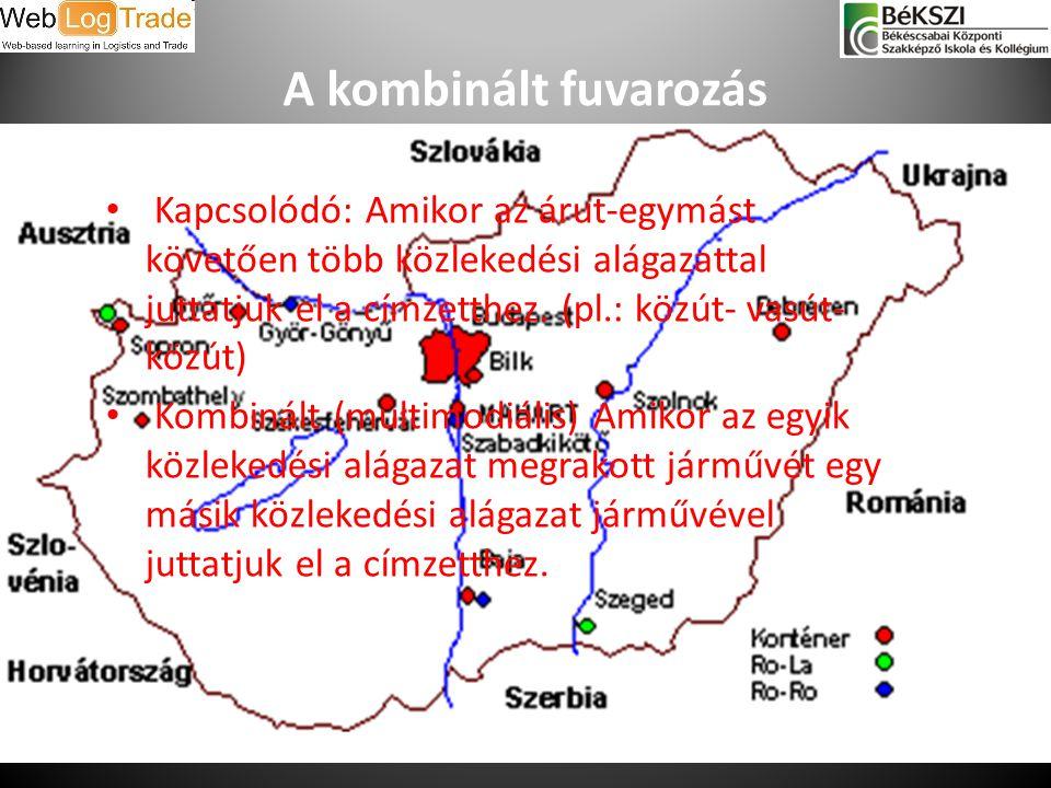 A kombinált fuvarozás Kapcsolódó: Amikor az árut-egymást követően több közlekedési alágazattal juttatjuk el a címzetthez. (pl.: közút- vasút-közút)