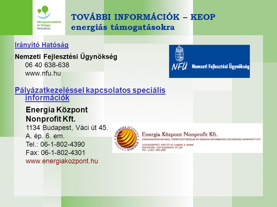 TOVÁBBI INFORMÁCIÓK – KEOP energiás támogatásokra