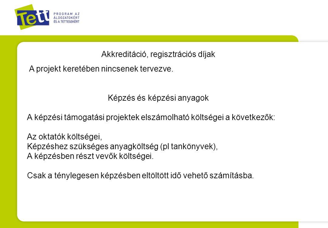 Akkreditáció, regisztrációs díjak
