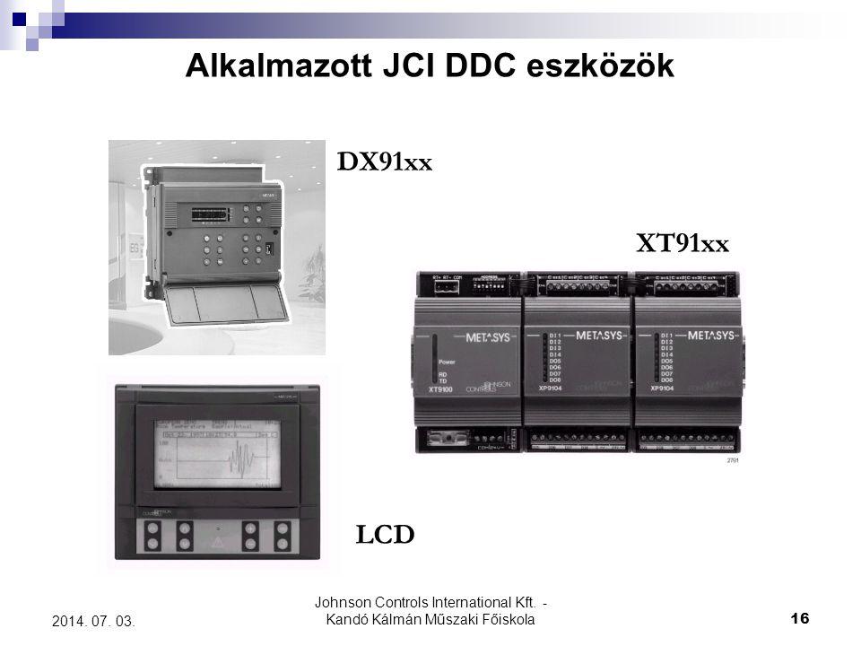 Alkalmazott JCI DDC eszközök