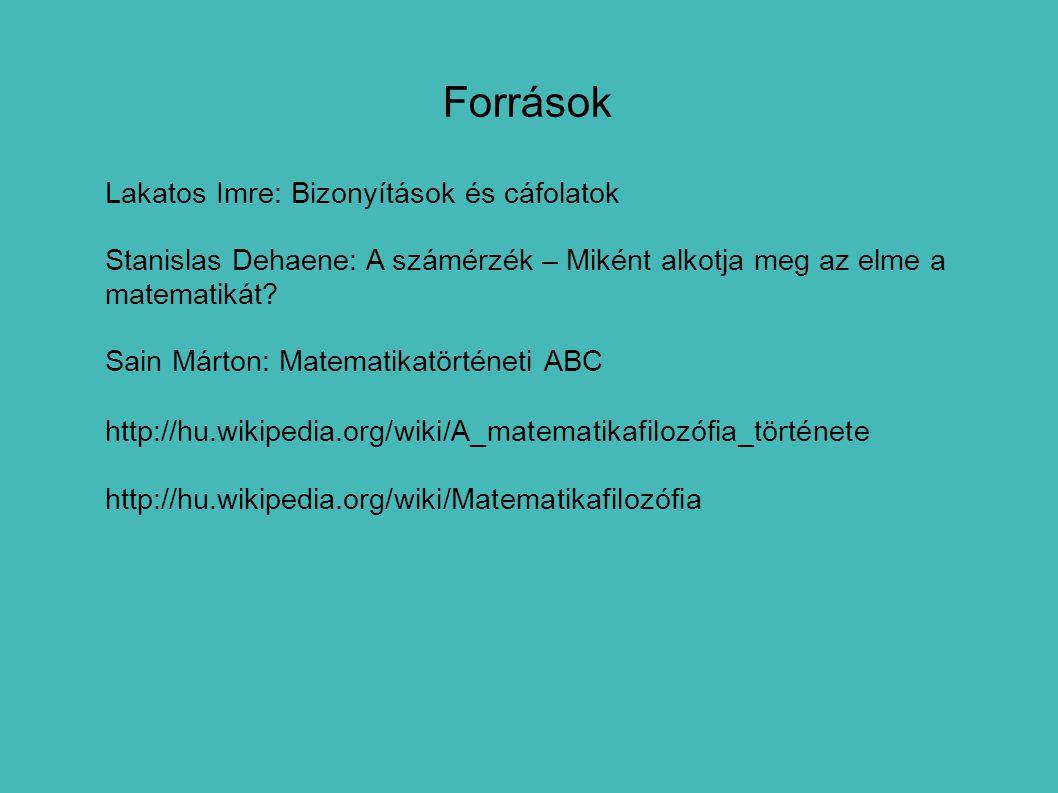 Források Lakatos Imre: Bizonyítások és cáfolatok