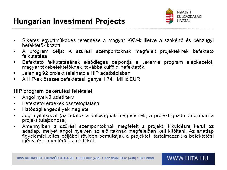 Hungarian Investment Projects