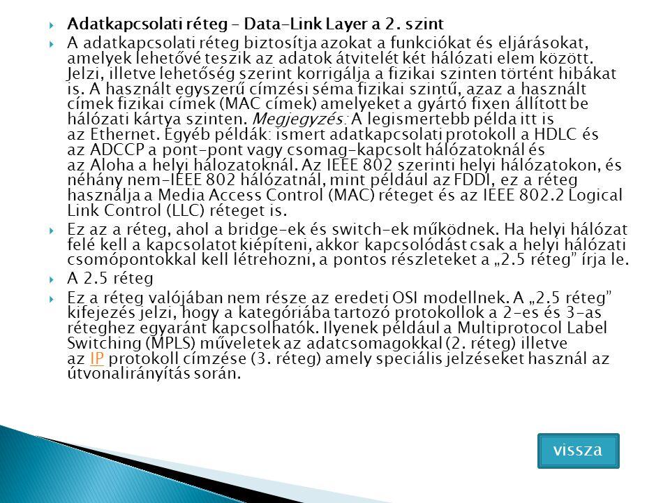 vissza Adatkapcsolati réteg – Data-Link Layer a 2. szint