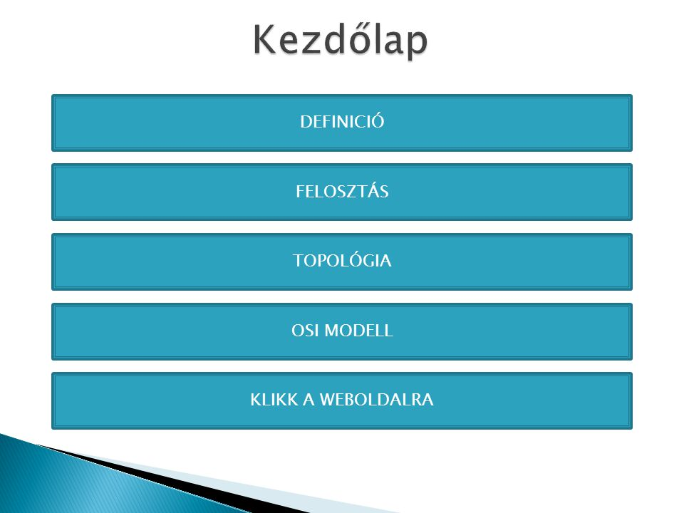 Kezdőlap DEFINICIÓ FELOSZTÁS TOPOLÓGIA OSI MODELL KLIKK A WEBOLDALRA