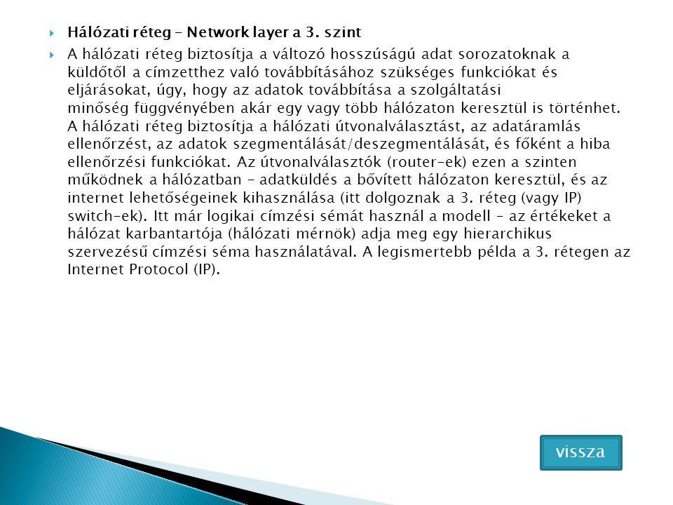 vissza Hálózati réteg – Network layer a 3. szint