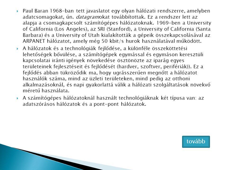 Paul Baran 1968-ban tett javaslatot egy olyan hálózati rendszerre, amelyben adatcsomagokat, ún. datagramokat továbbítottak. Ez a rendszer lett az alapja a csomagkapcsolt számítógépes hálózatoknak. 1969-ben a University of California (Los Angeles), az SRI (Stanford), a University of California (Santa Barbara) és a University of Utah kialakították a gépeik összekapcsolásával az ARPANET hálózatot, amely még 50 kbit/s hurok használatával működött.