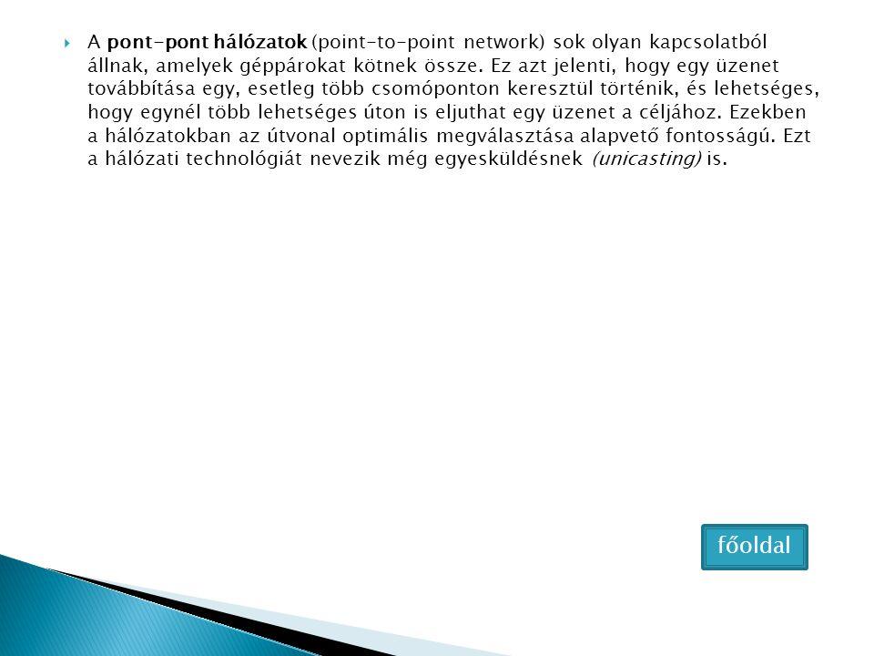A pont-pont hálózatok (point-to-point network) sok olyan kapcsolatból állnak, amelyek géppárokat kötnek össze. Ez azt jelenti, hogy egy üzenet továbbítása egy, esetleg több csomóponton keresztül történik, és lehetséges, hogy egynél több lehetséges úton is eljuthat egy üzenet a céljához. Ezekben a hálózatokban az útvonal optimális megválasztása alapvető fontosságú. Ezt a hálózati technológiát nevezik még egyesküldésnek (unicasting) is.