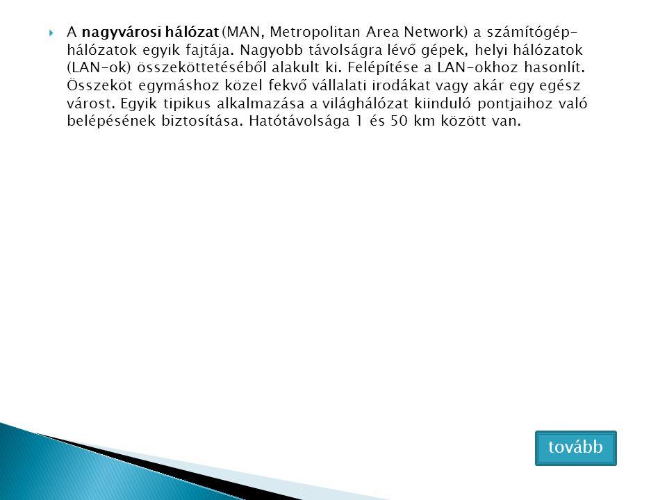 A nagyvárosi hálózat (MAN, Metropolitan Area Network) a számítógép- hálózatok egyik fajtája. Nagyobb távolságra lévő gépek, helyi hálózatok (LAN-ok) összeköttetéséből alakult ki. Felépítése a LAN-okhoz hasonlít. Összeköt egymáshoz közel fekvő vállalati irodákat vagy akár egy egész várost. Egyik tipikus alkalmazása a világhálózat kiinduló pontjaihoz való belépésének biztosítása. Hatótávolsága 1 és 50 km között van.