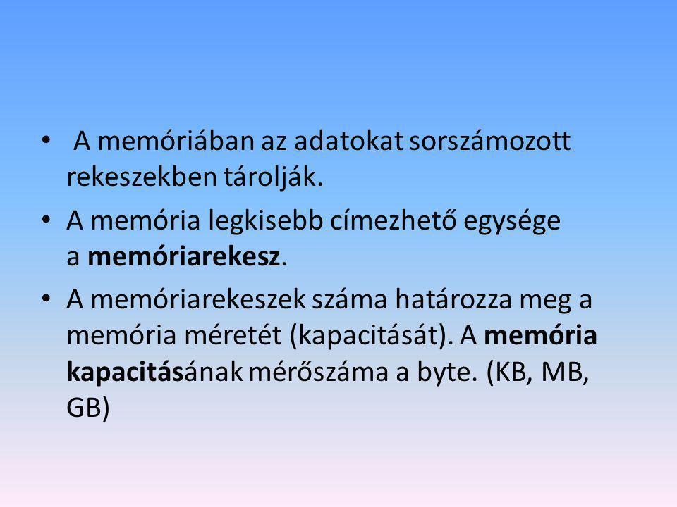 A memóriában az adatokat sorszámozott rekeszekben tárolják.