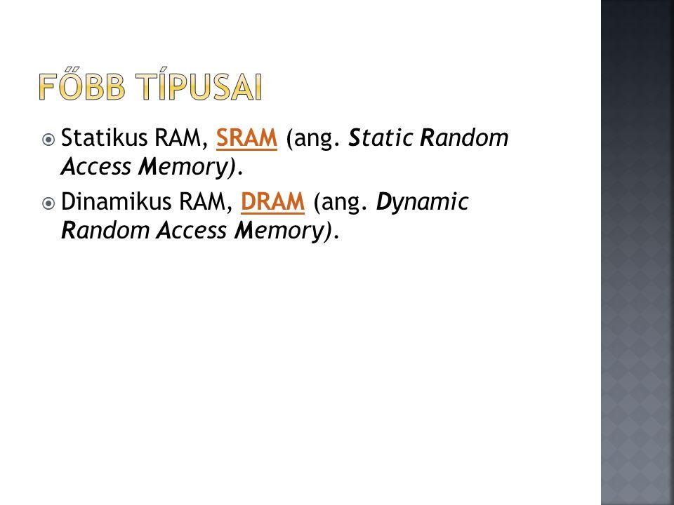 Főbb típusai Statikus RAM, SRAM (ang. Static Random Access Memory).