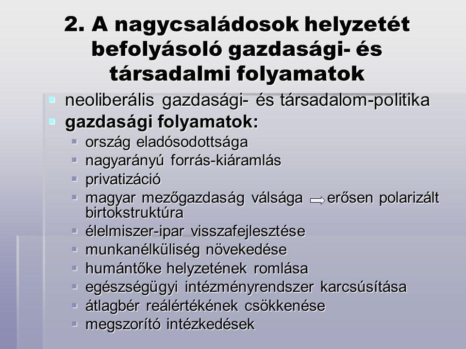 2. A nagycsaládosok helyzetét befolyásoló gazdasági- és társadalmi folyamatok