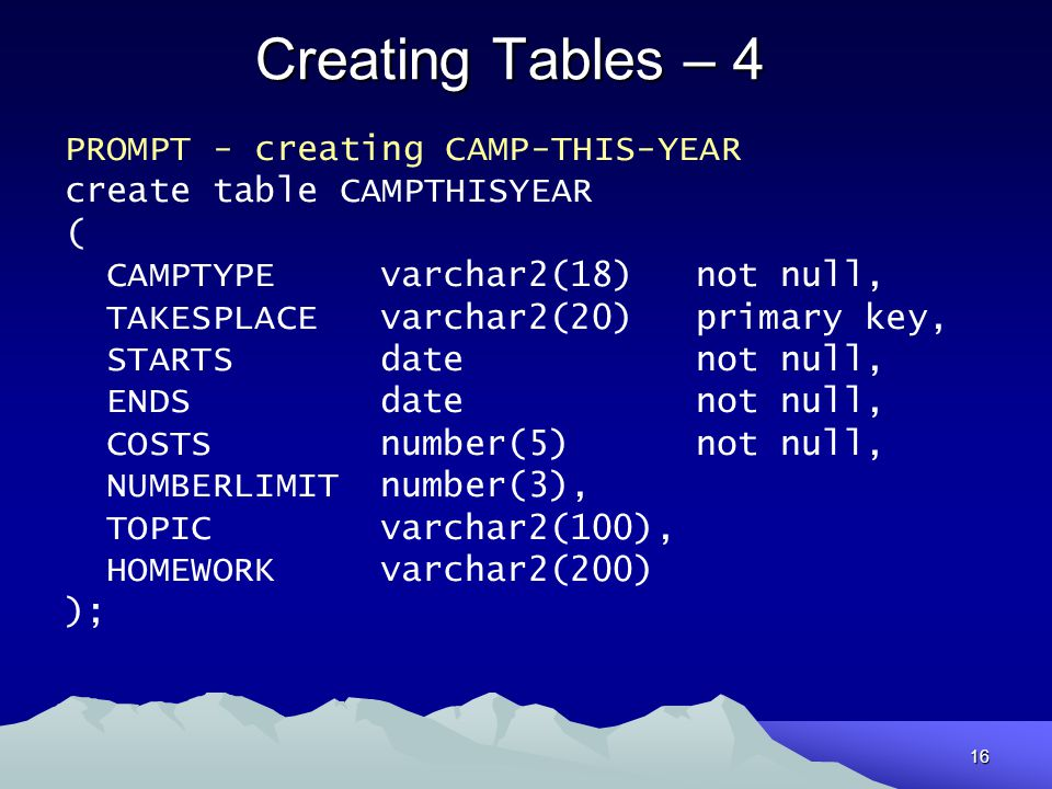 Creating Tables – 4 PROMPT - creating CAMP-THIS-YEAR