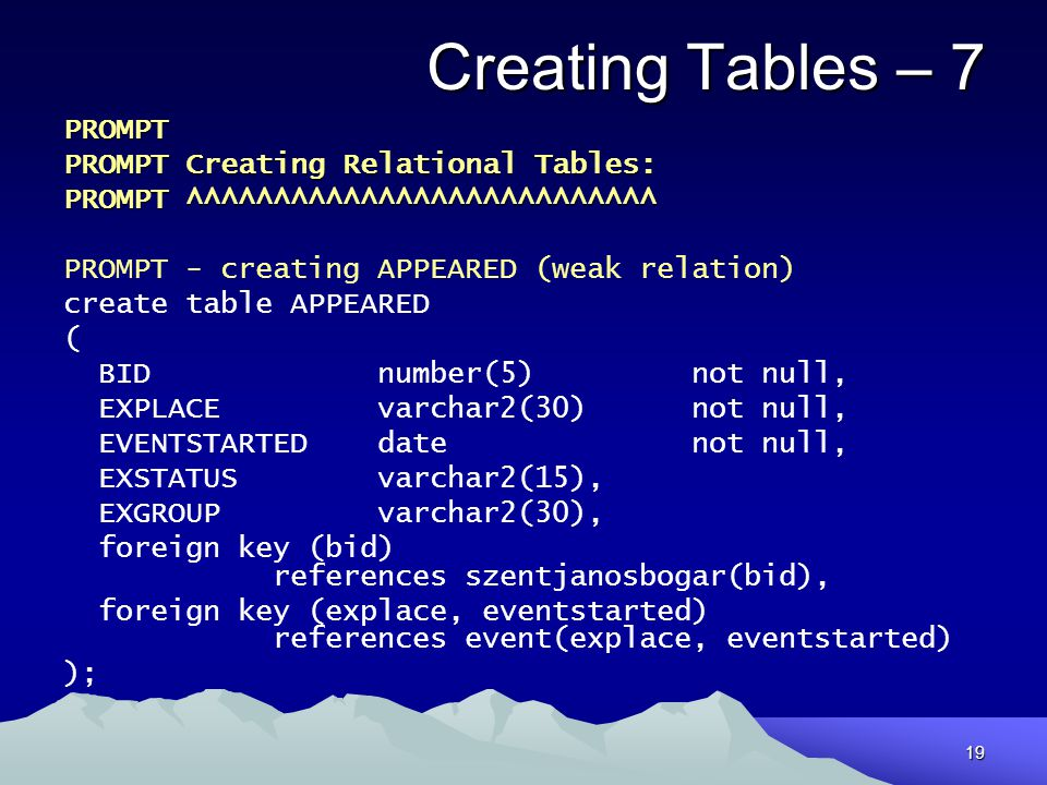 Creating Tables – 7 PROMPT PROMPT Creating Relational Tables: