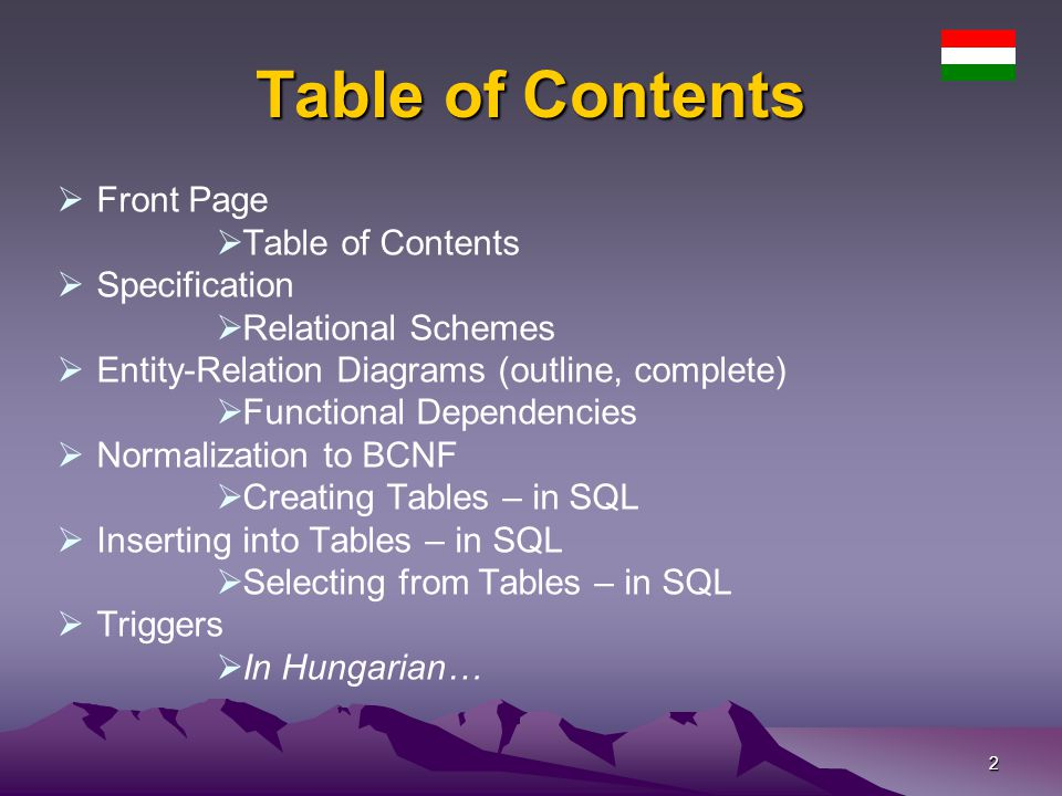 Table of Contents Front Page Table of Contents Specification