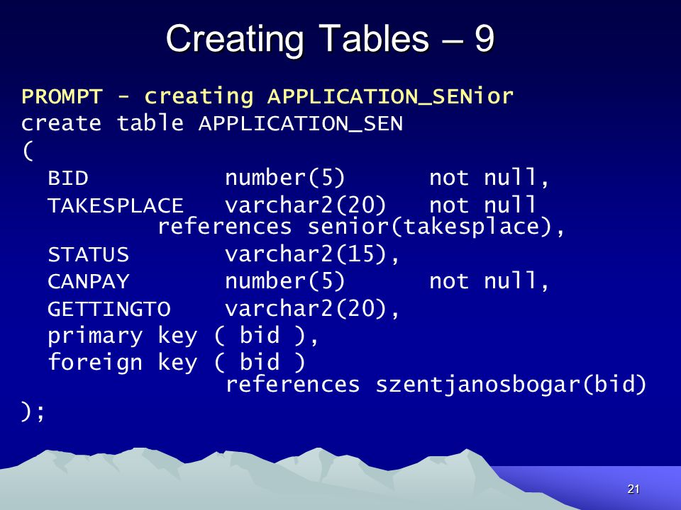 Creating Tables – 9 PROMPT - creating APPLICATION_SENior
