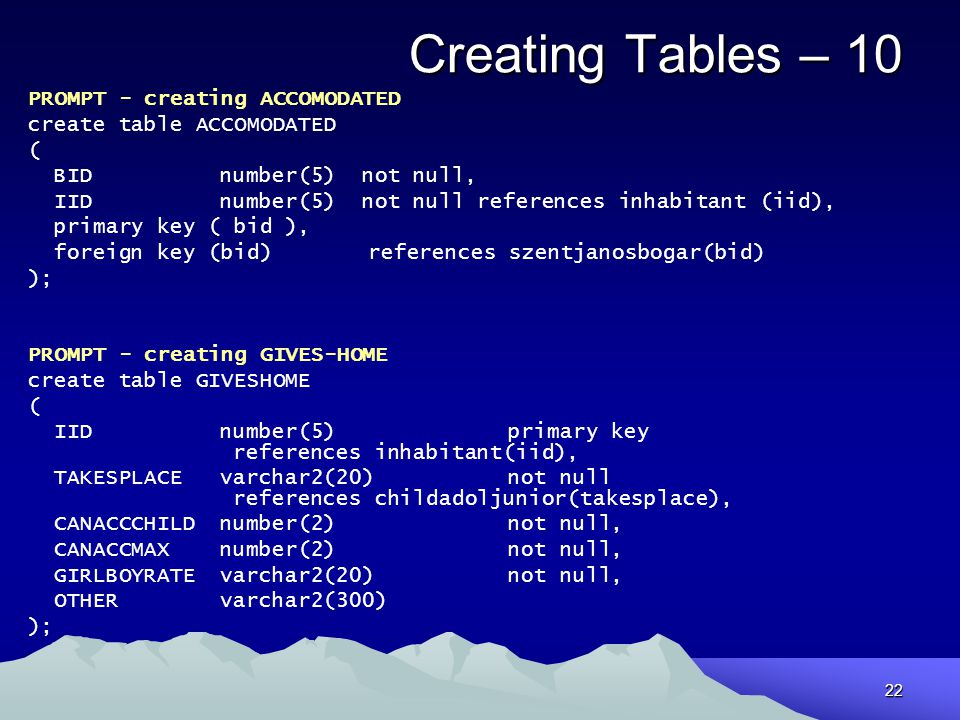 Creating Tables – 10 PROMPT - creating ACCOMODATED