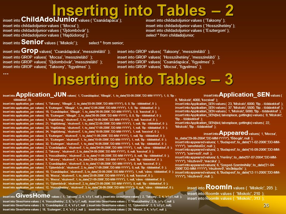Inserting into Tables – 2
