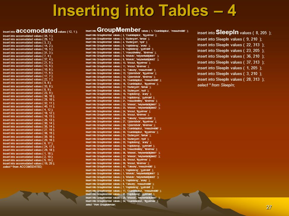 Inserting into Tables – 4