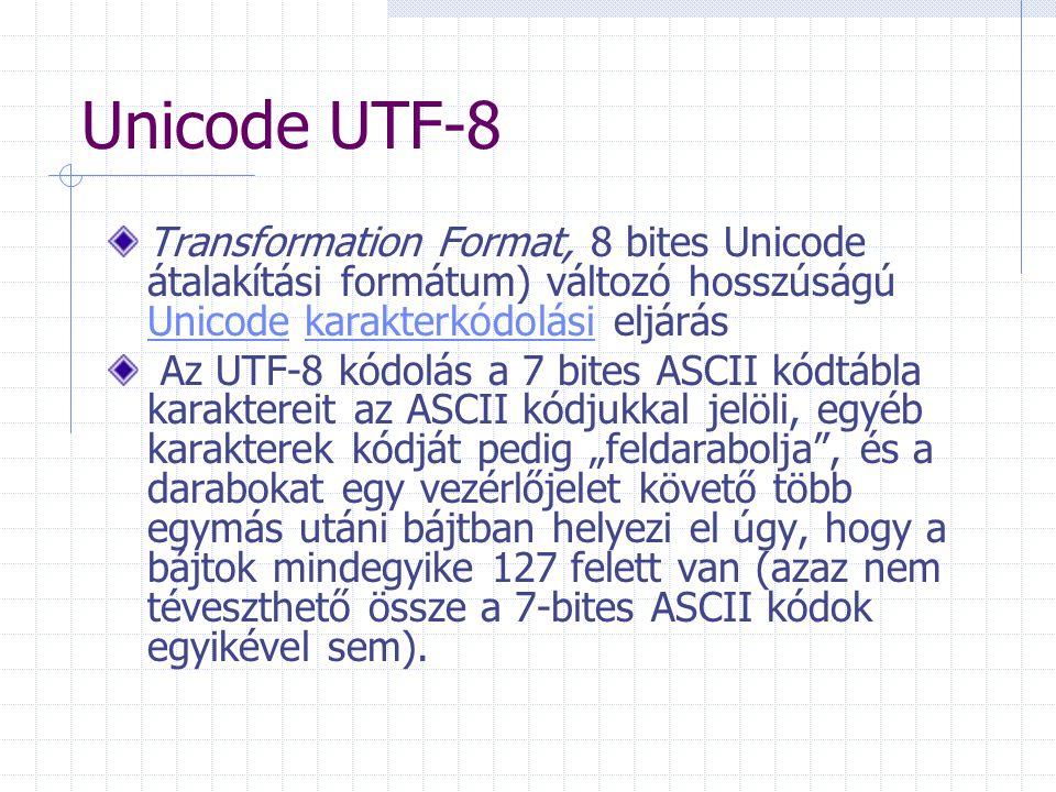 Unicode UTF-8 Transformation Format, 8 bites Unicode átalakítási formátum) változó hosszúságú Unicode karakterkódolási eljárás.